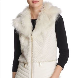 GUESS Faux Fur & Leather Vest - Off White / Cream